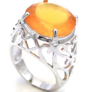 Sterling Silver.925 Golden Citrine Ring